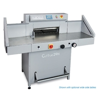 Formax Cut-True 29H Hydraulic Guillotine Paper Cutter - Shown with optional wide side tables